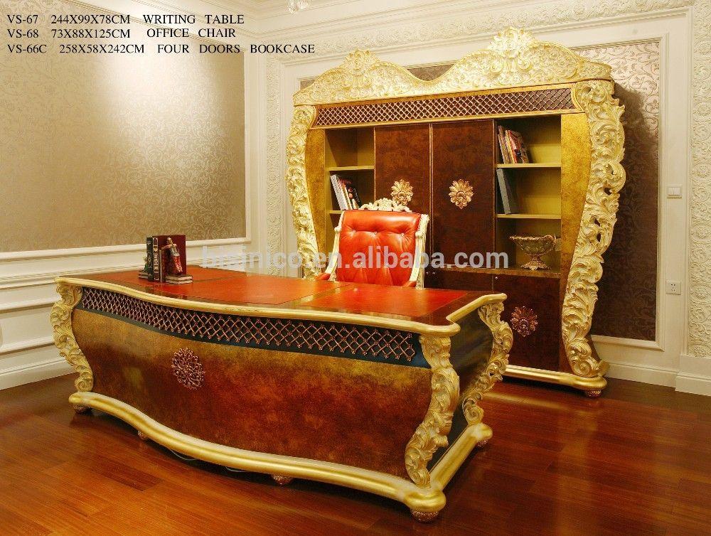 Français rococo bureau meubles en bois massif or feuille bureau