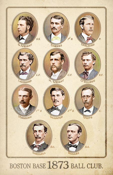 1873 Boston Red Stockings Team Cabinet Art By Ars Longa Art Cards