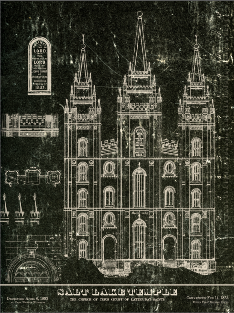 1853 salt lake temple blueprints black white for the home salt lake temple blueprint black and white malvernweather Images
