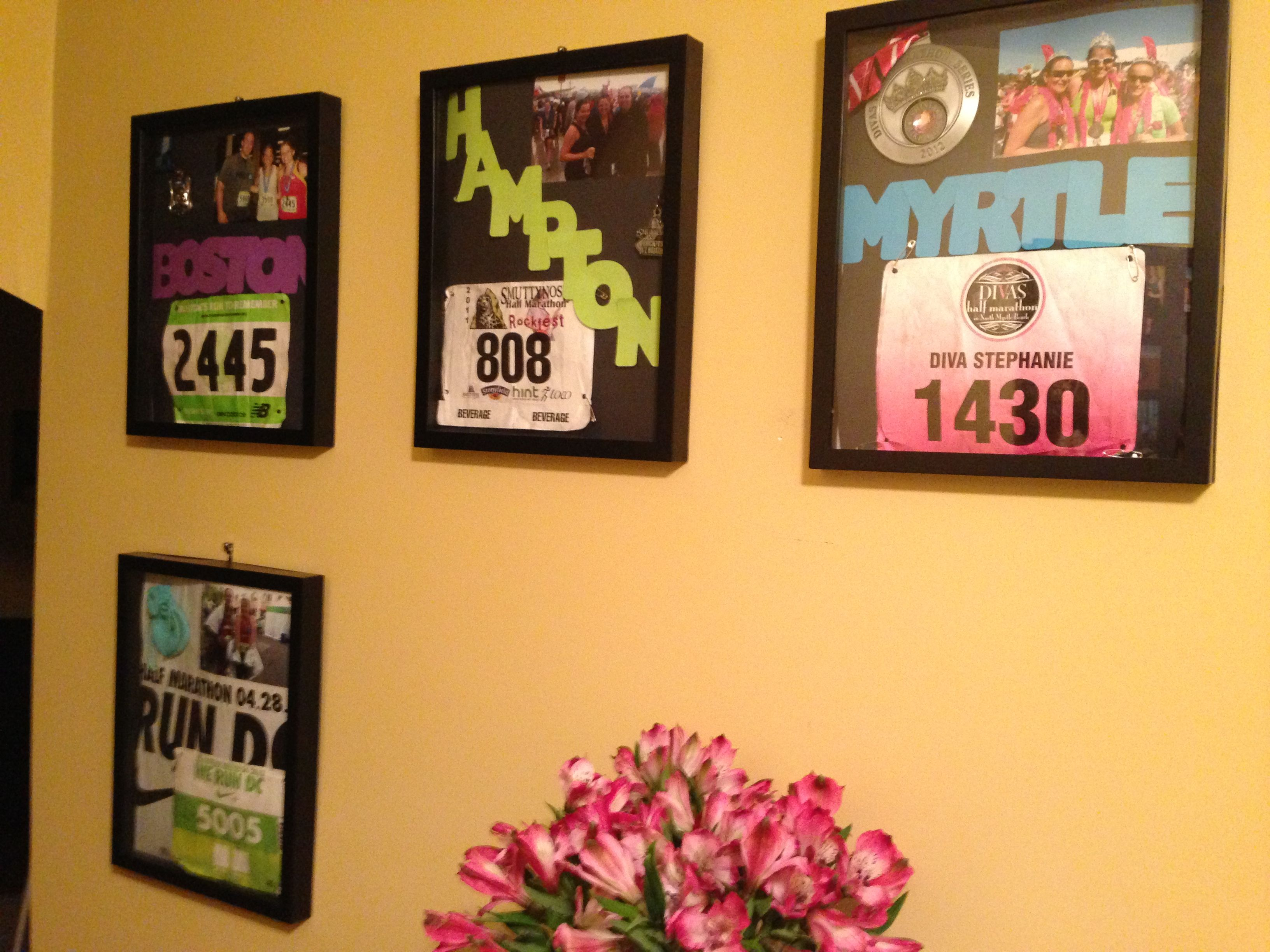 Shadow boxes to display race bib, medal, and after race pic ...