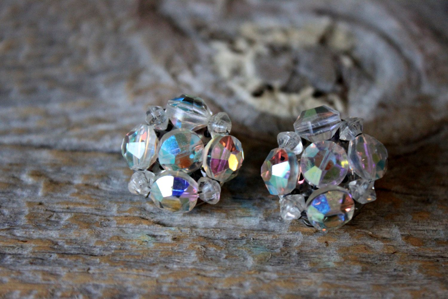 aurora borealis earrings cluster crystal rhinestone clip ons 1950s vintage wedding by umbrellafant on Etsy