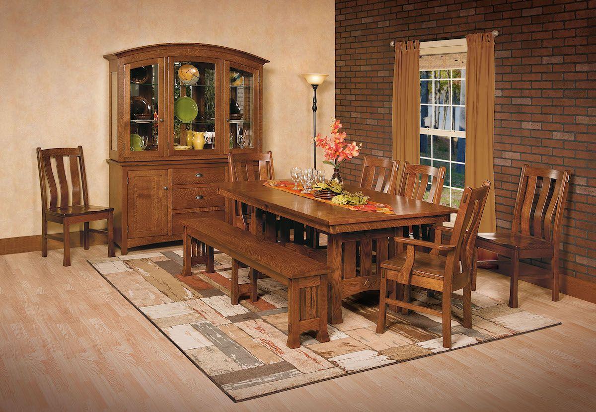 Quarter Sawn Whit Oak Amish Dining Set Tv Mounts Wooden Dining
