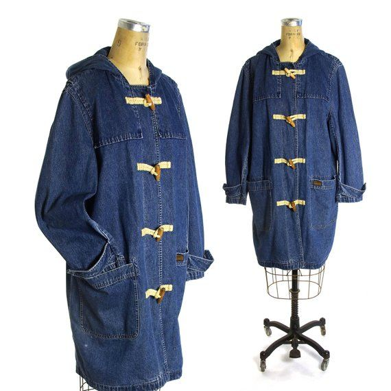905f0bfbd31 Ralph Lauren Denim Field Jacket Vintage 90s Oversized Hooded Jean Jacket  with Toggle Buttons Women s Size