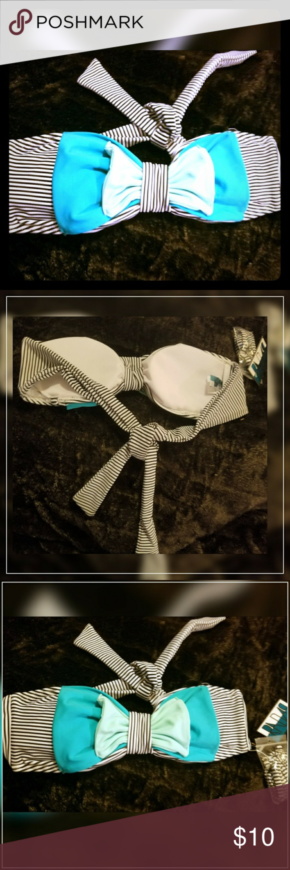 Radar Medium Striped Bikini Top w/Bow NWT Radar navy and white striped bikini top with 2 shades of green bow on the front.  Size medium.  This is definitely dark navy blue and white stripes.   Top only.   Really cute top!!  Removable bra pads... no wire.  There is a detachable strap that has never been opened.  Price tag not there but plastic thing that holds price tag is.  New, never worn.  Easy mix and match.   Originally $36. Smoke free. Don't forget to bundle to save an extra 15% off…