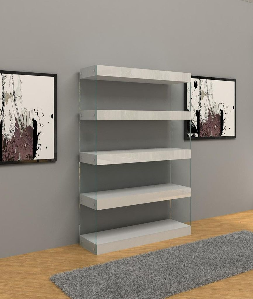 Great shelving option for a clean look.    Kelle Lucite Floating Bookcase | Vielle and Frances