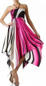 A Knee Length Dress with a Swirl Print Smocked Bust