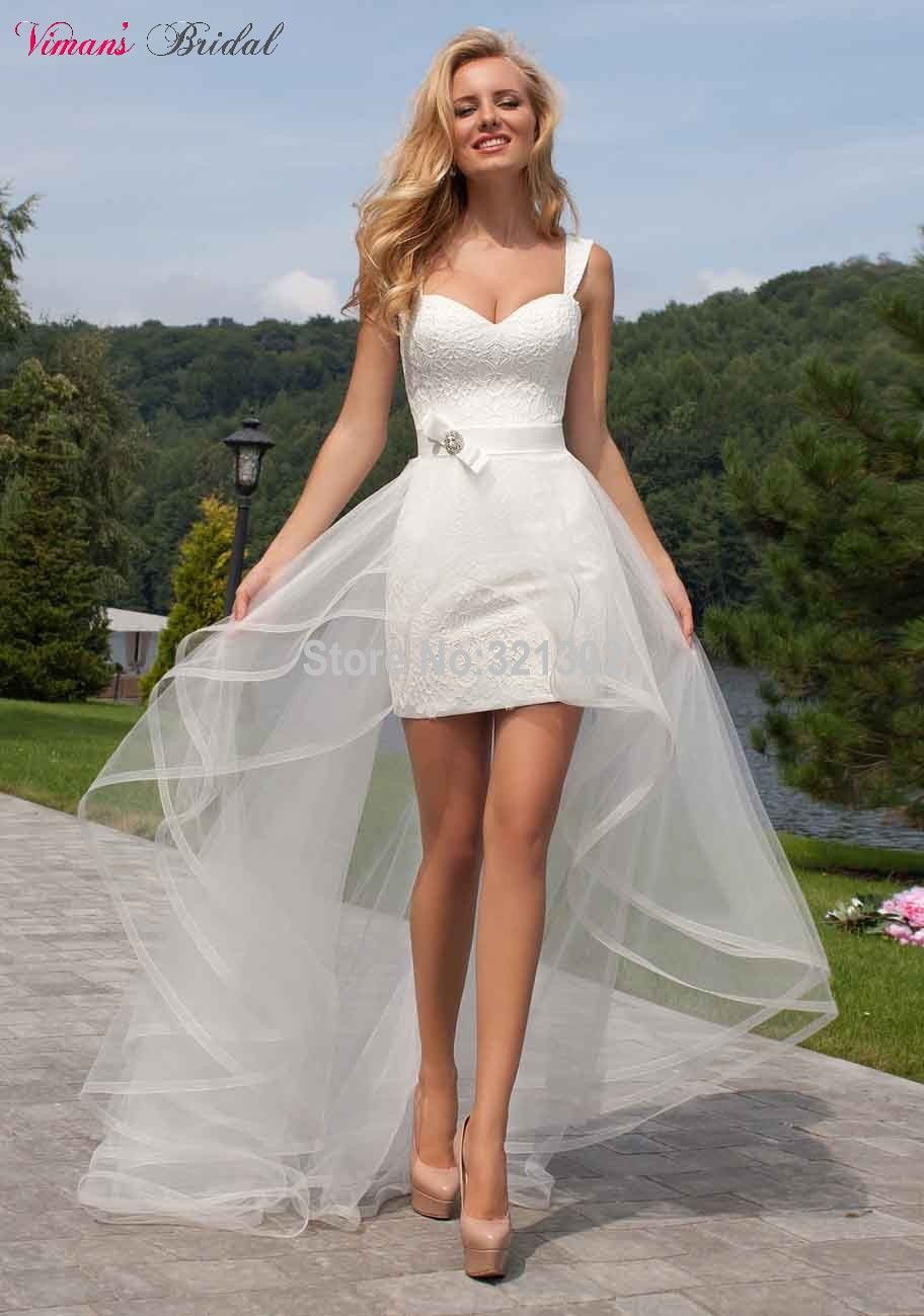 High Low Sheath Lace Straps Sweetheart Above Knee Short Wedding Gown ...