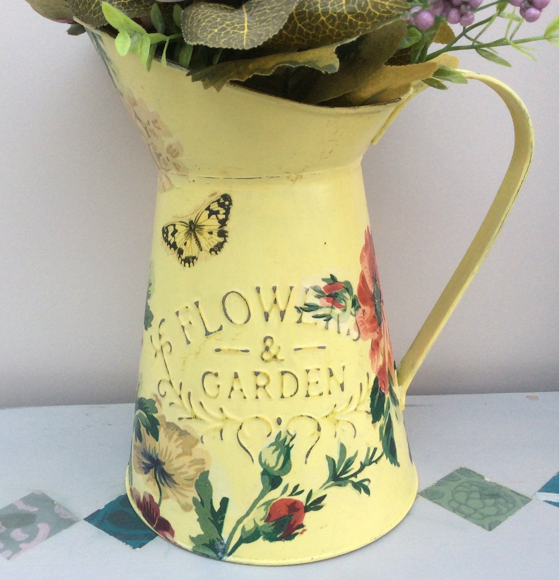 Painted Decoupaged Metal Pitcher Jug Flower Vase Vintage Style Shabby Chic Home Sweet Home Country Style Decor Shabby Chic Jug Country Style Decor Flower Vases