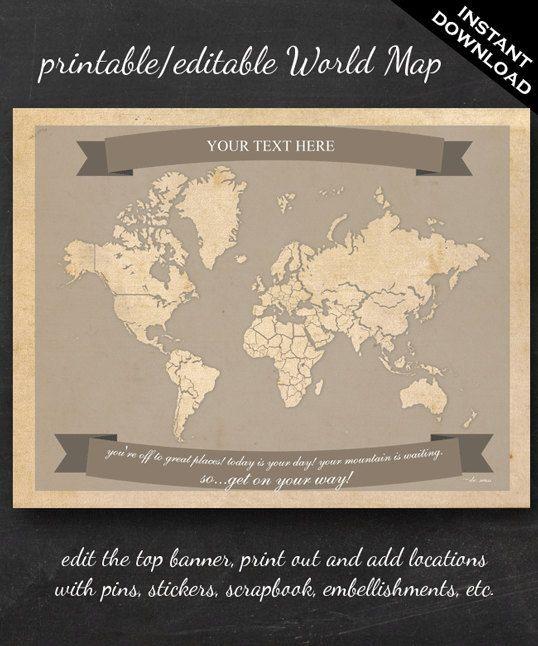 World travel map printable editable world travel map instant world travel map printable editable world travel map instant download letter size gumiabroncs Gallery