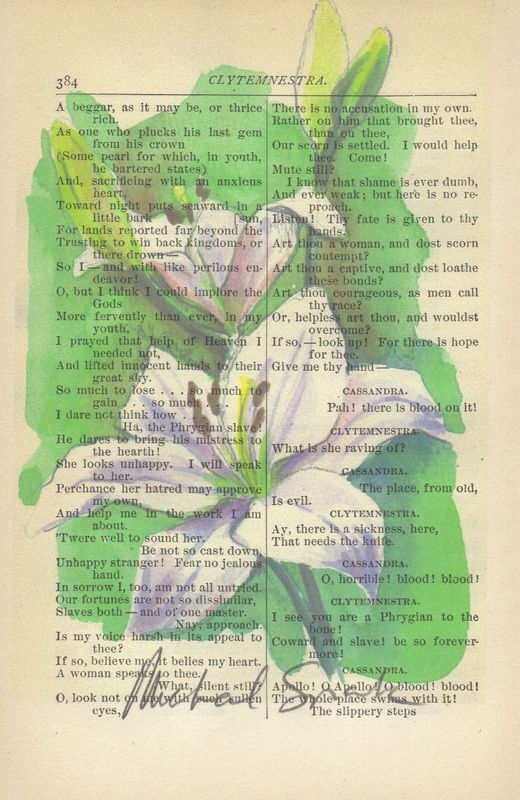 White Spring Lily Watercolor Printed on Antique Book Page
