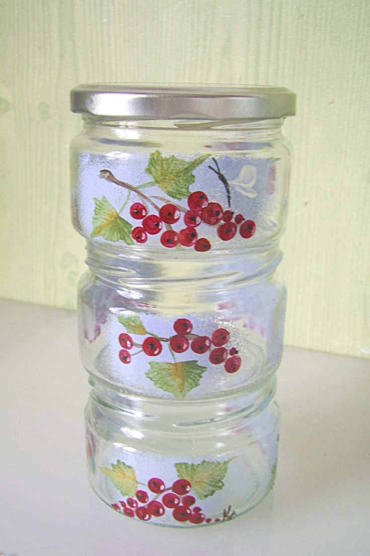 Glass Hand Painted Kitchen Decor / Red Currant Kitchen Storage. Glass  Storage Jars, Food