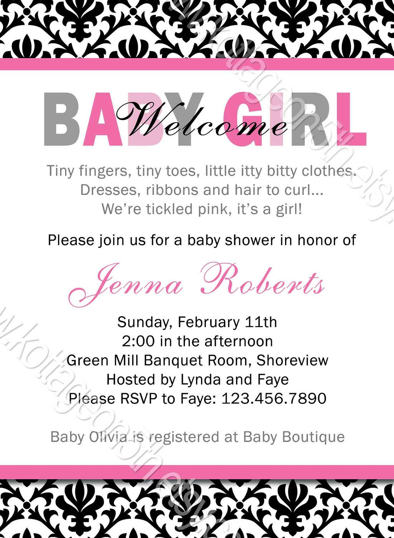 Welcome Baby Girl - Mod Shower Invitation - Demask Stripes ...