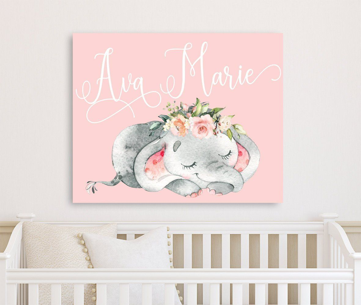Pink Elephant Nursery Wall Art Canvas