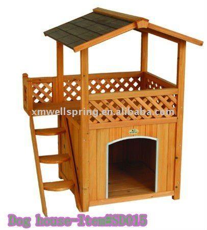 Doble casa perro con escalera de madera en jaulas - Casas para gatos de madera ...