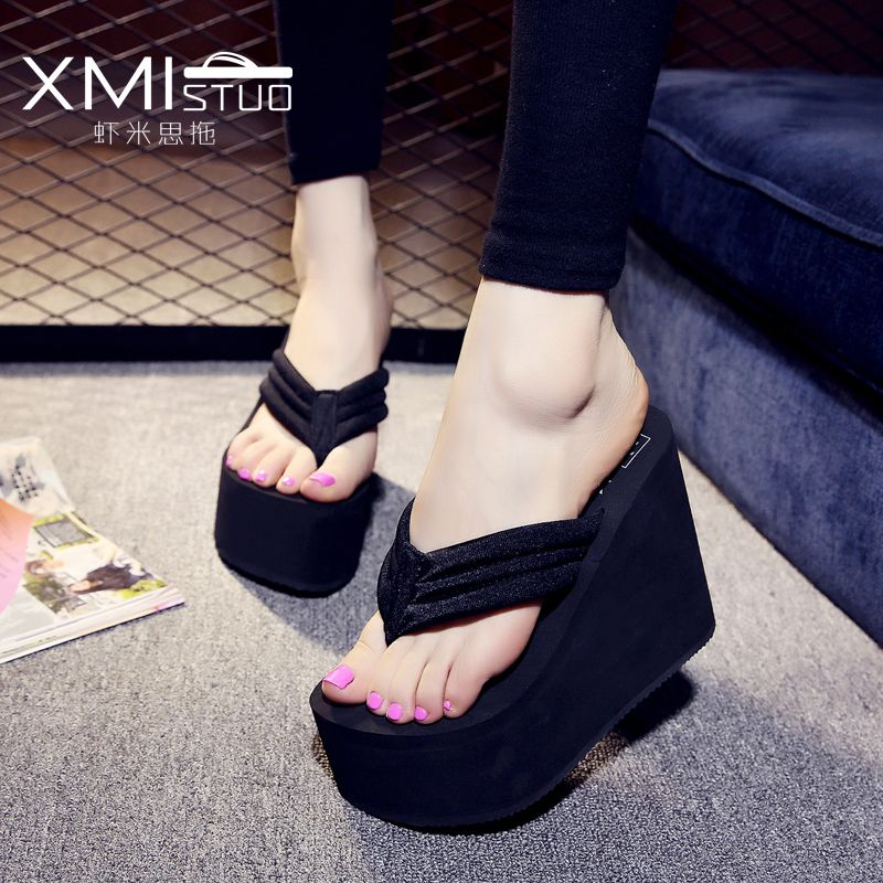 f30f78dadb1543 XMISTUO Increased 12cm slope with thick crust muffin waterproof sandals and slippers  slip female high with the simple flip-flops