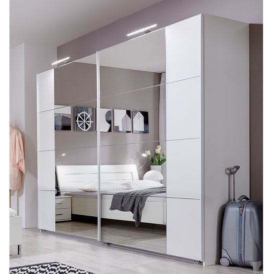 Davos Sliding Robe Wardrobe In Alpine White With Lights