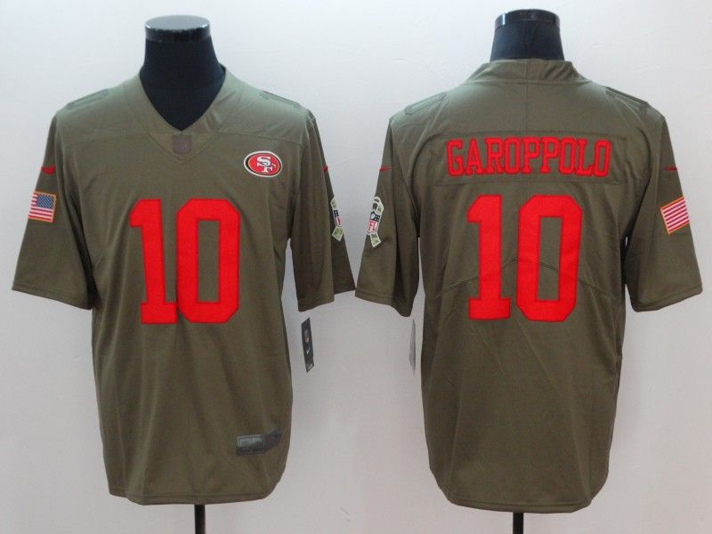 new product fac4b e1ea2 Nike 49ers 10 Jimmy Garoppolo Olive Salute To Service ...