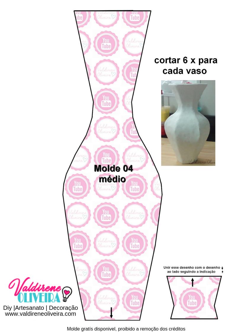 Molde Para Vaso De Caixa De Leite Modelo 4 Artesanato De Vaso
