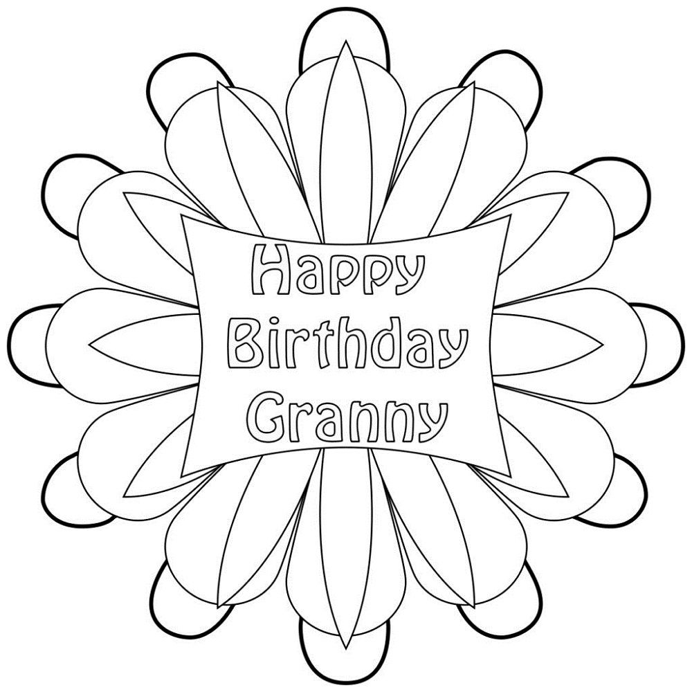 Happy Birthday Grandma Coloring Pages in 2020 (With images