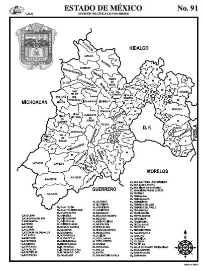 25 Unico Estado De Mexico Division Politica Con Nombres