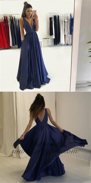 3c11d8e6e22 Sexy A-Line Deep V-Neck Dark Blue Prom Dresses with Pockets