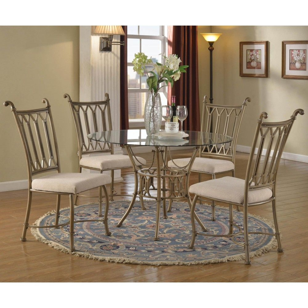 Darcy Bronze Beige Dining Room Set W Wave Edge Glass Table