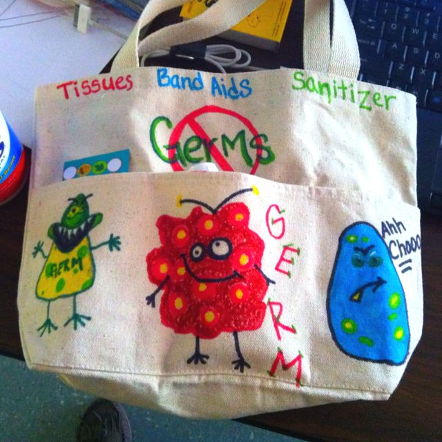 First aid and tissue bag to take with us to the playground and church