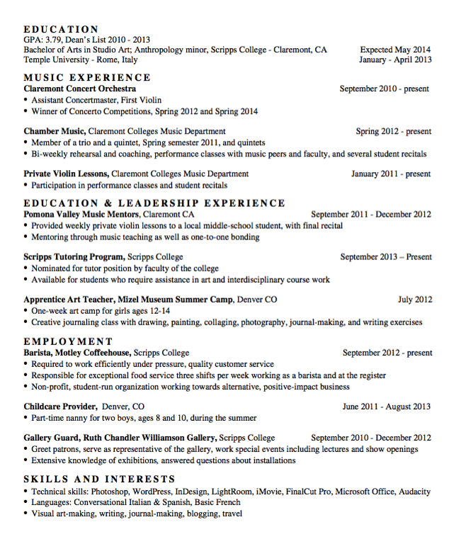Sample Chamber Music Resume exampleresumecvorgsample – Music Resume