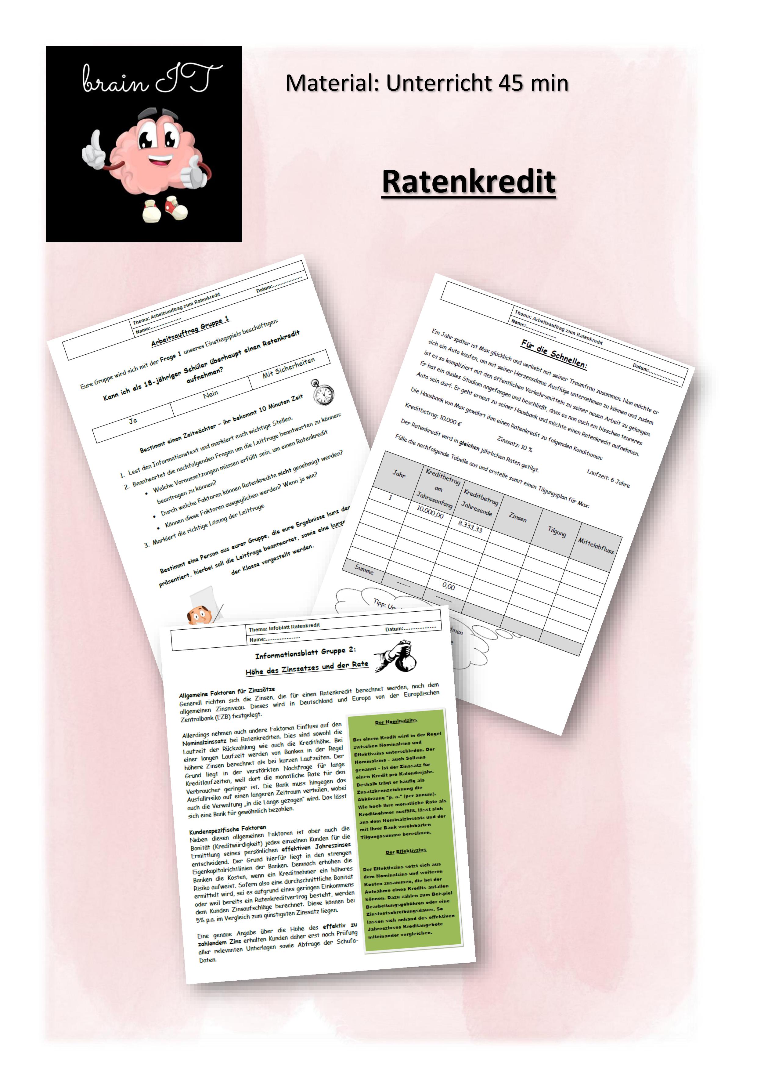 Kredit Ratenkredit 45 Min Unterricht Unterrichtsmaterial In Den Fachern Mathematik Wirtschaft Ratenkredit Kredit Mathematikunterricht