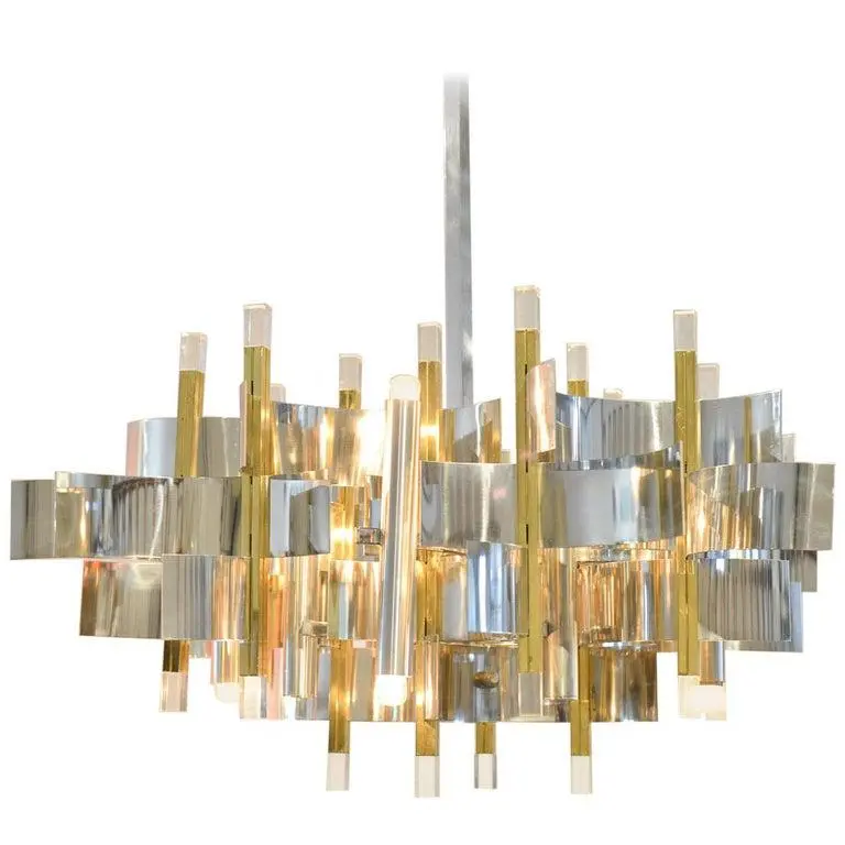 1970s Brass Chrome And Lucite Chandelier By Gaetano Sciolari Italy Circa 1970 In 2020 Chandelier Ceiling Lamp Design Chrome Chandeliers
