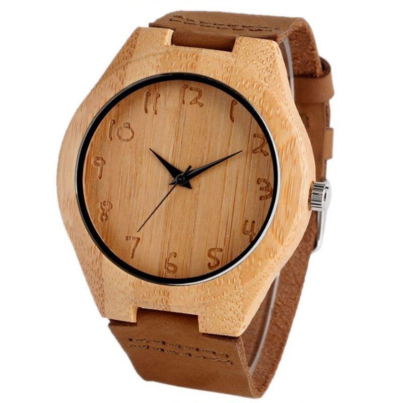 Reloj de madera de bambú y cuero para Mujer Grabado