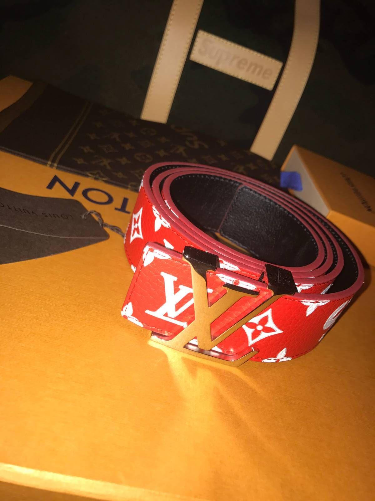 1e5953653ba4 Supreme Louis Vuitton Supreme red monogram belt Size 38 - Belts for Sale -  Grailed