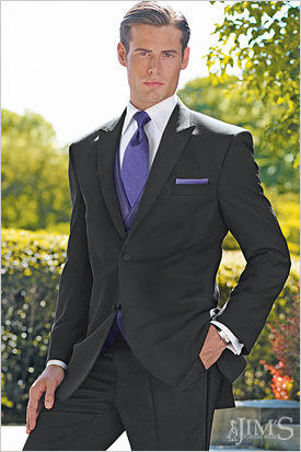 Love this black suit & purple tie combo..get yours at Willard's ...