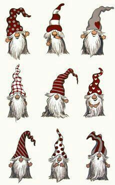Cute Little Gnome Sketches Christmas Gnome Christmas Paintings Christmas Diy