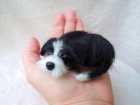 Needle Felted Dog Sculpture Jack Russel Parson Terrier Laying