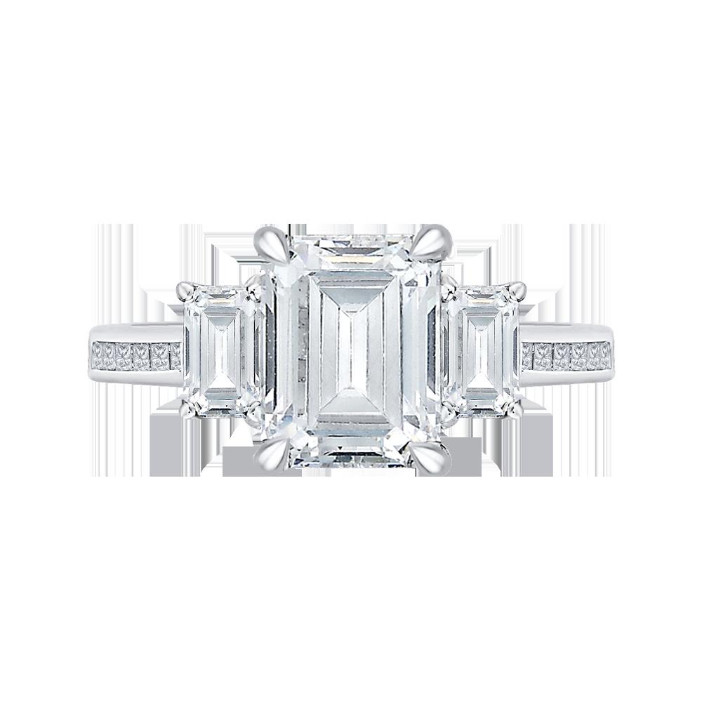#Mia #Carizza 18K White Gold 1 1/5 Ct Diamond Carizza Boutique Semi Mount Engagement Ring fit Emerald Center