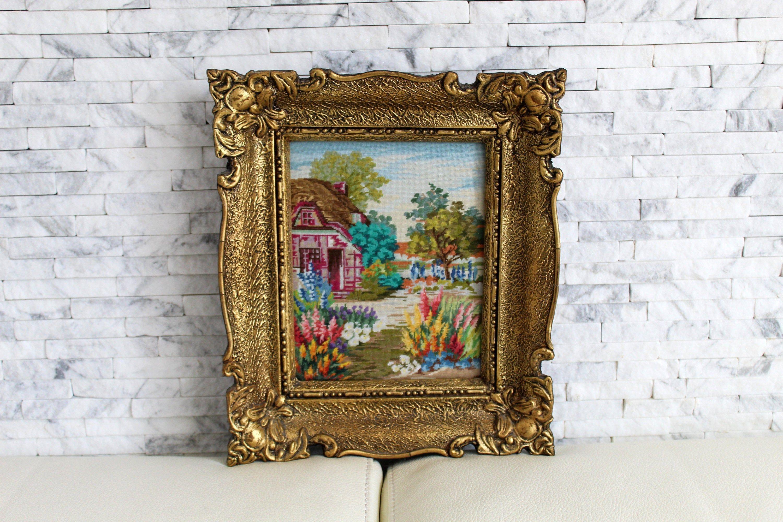 Vintage art Finished needlepoint Countryside landscape,Cross stitch wall art,Unframed Handmade tapestry Wiehler gobelin Heathland 11x9