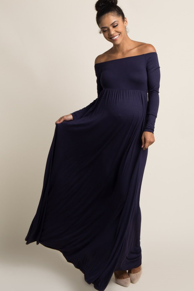 f4d7a9a82e02 An off shoulder keeps you on trend, while cinching under the bust will show  off your bump from one week to the next.