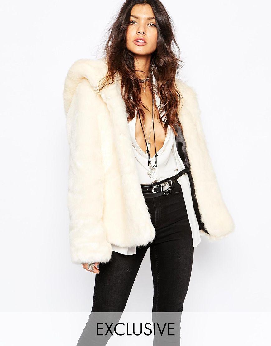 Faux London Fluffy Faux Fur Hooded Coat | Faux fur hooded coat ...