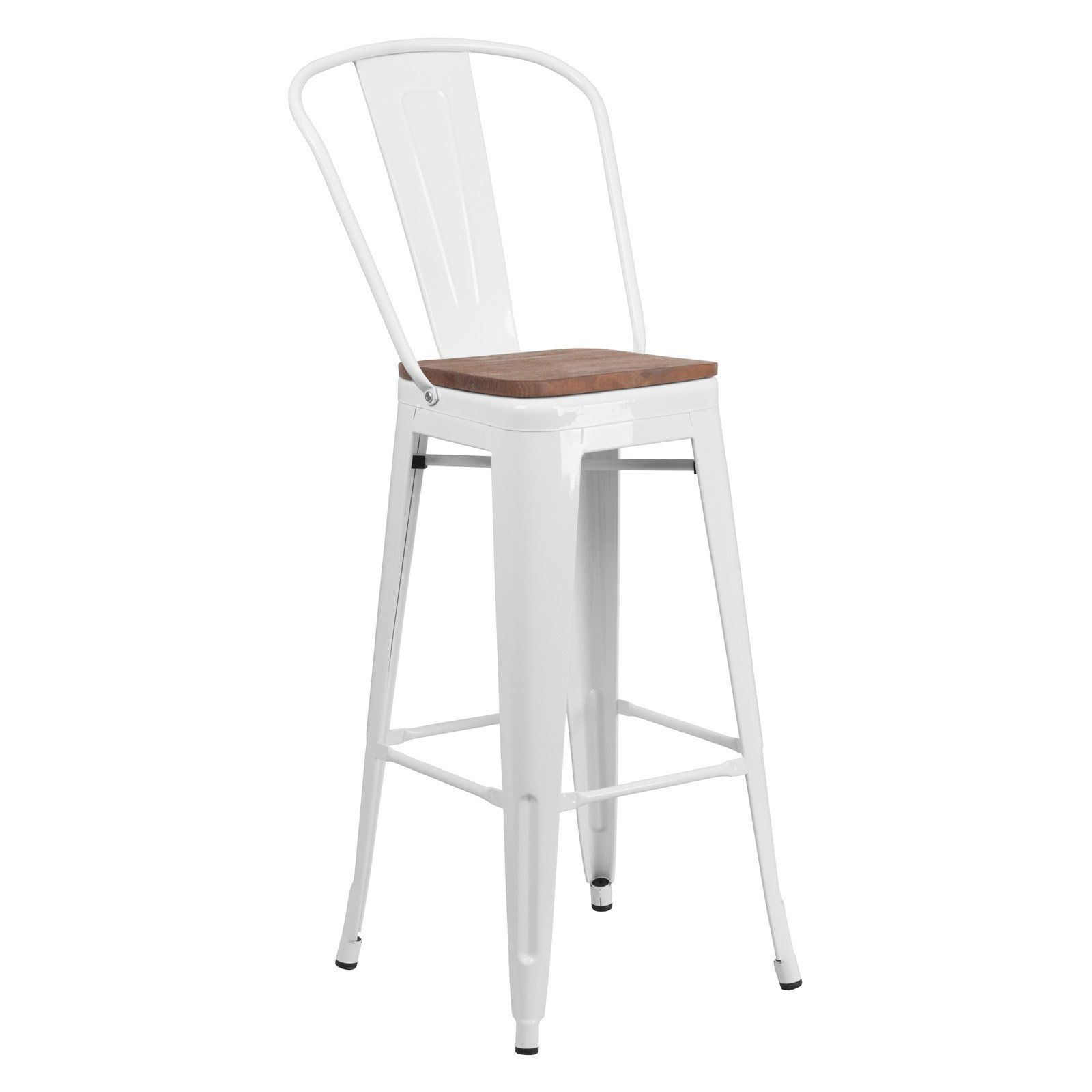 Flash Furniture Metal Splat Back 30 In Wooden Seat Bar Stool