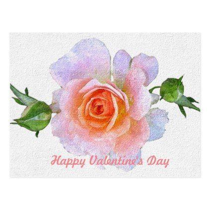 Happy Valentine S Day Pink Rose Floral Vintage Holiday Postcard