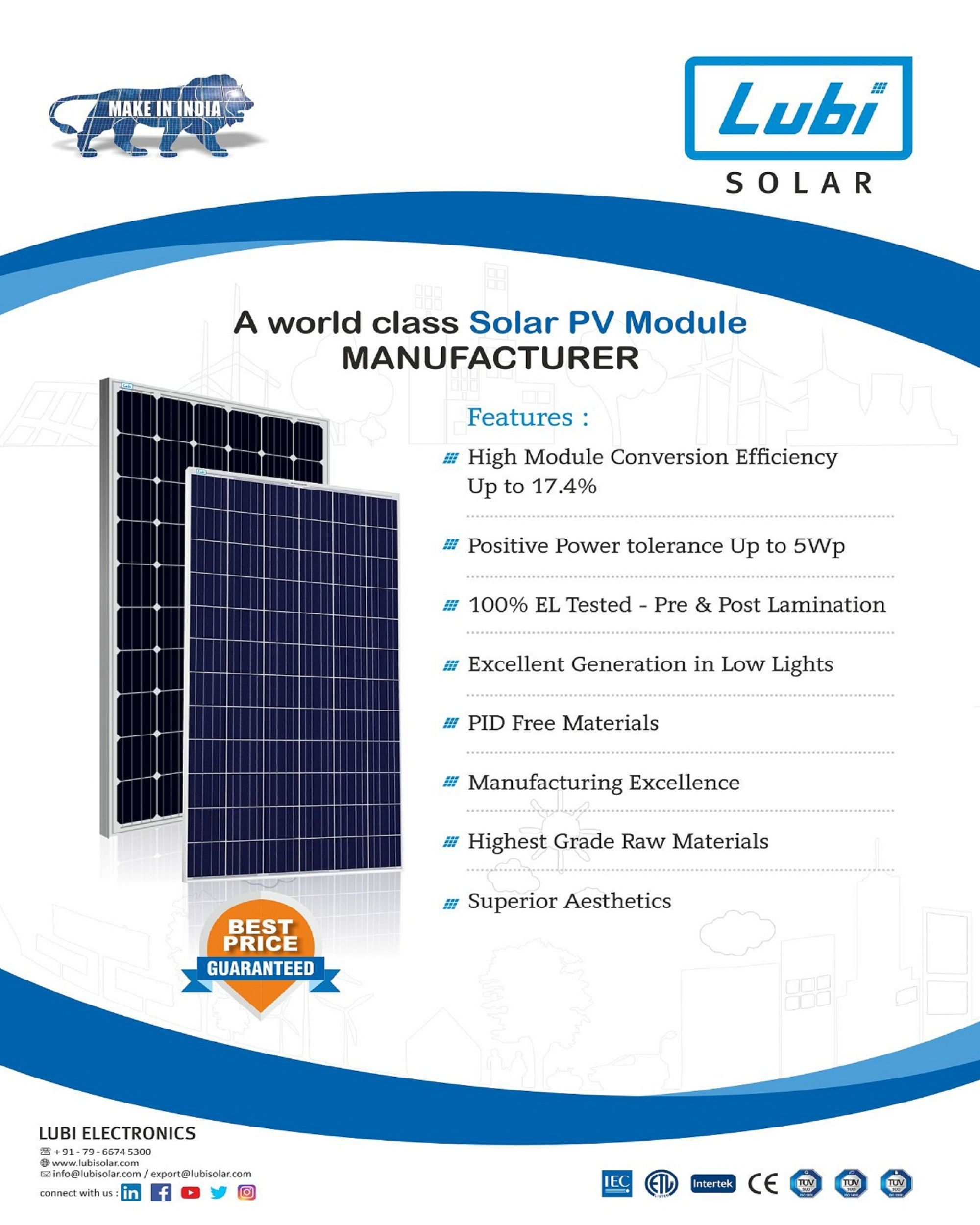 Lubi Solar Manufacturing High Efficient Solar Panel In India Well Known Brand For Solar Power Panel Solar Solar Power Panels Solar Panel System Solar Panels