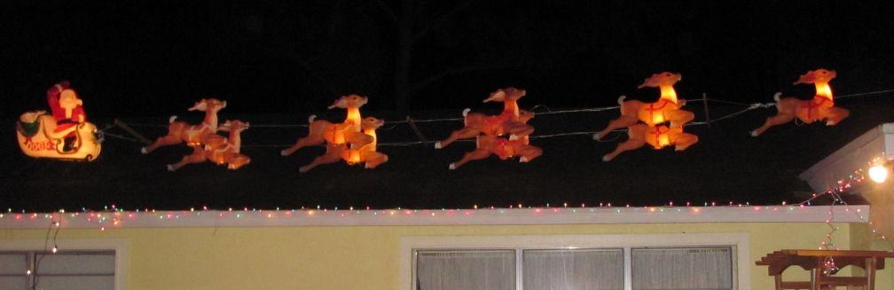 Blowmold Santa And Reindeer On Roof Roof Decoration Santa And Reindeer Pumpkin Decorating