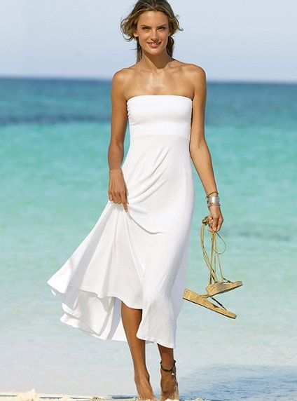 Strapless white beach dress