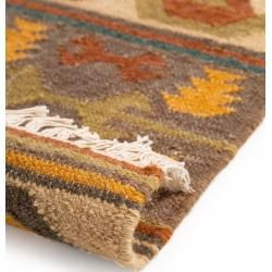 benuta Handgewebter Kelim Zohra Multicolor 120x170 cm - Moderner Bunter Teppich für Wohnzimmer benut #trendybedroom