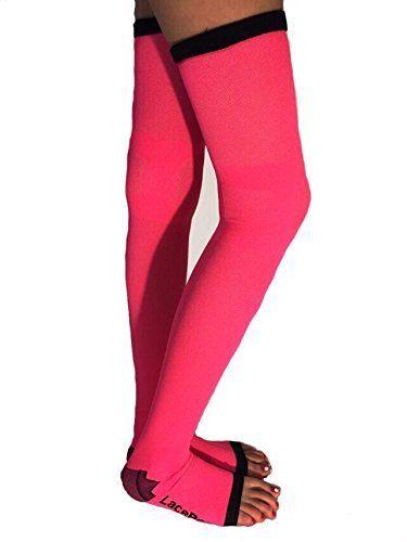 aefbd37fc Lace Poet Neon Pink Yoga/Sleep Thigh-High Compression Toeless Socks ...