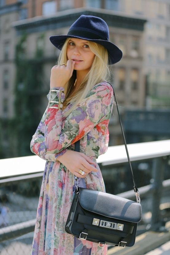 yes to the hat and the amazing floral dress and her jewelry.