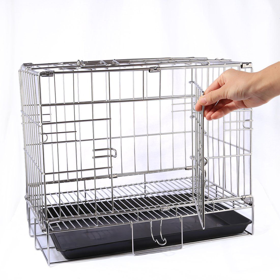 Vicoki Pet Cage Stainless Steel Cat Dog Rabbit Cage Foldable Small ...