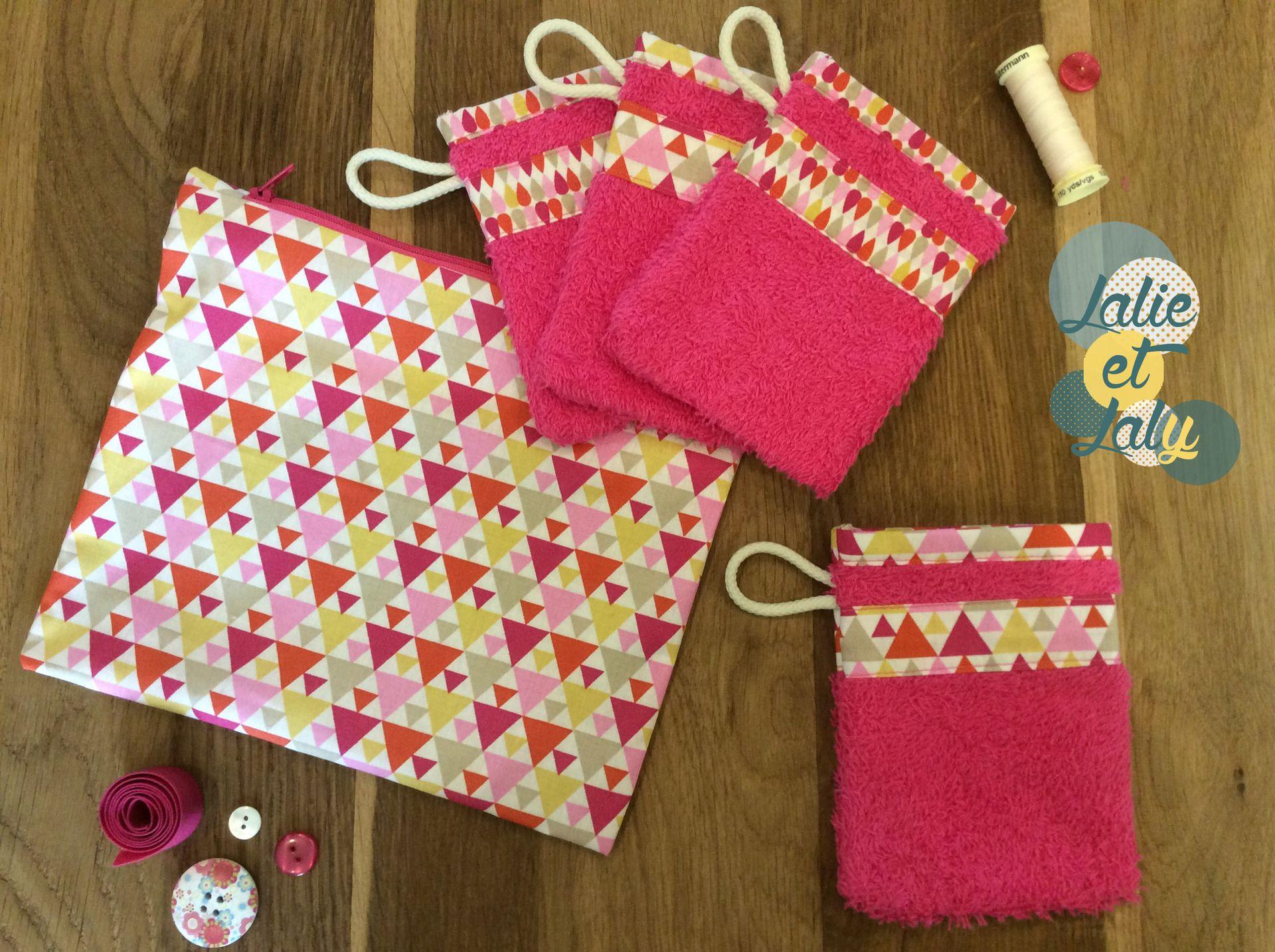 Lot de 4 gants de toilette enfant et sa pochette cadeau : Autres par lalie-et-laly