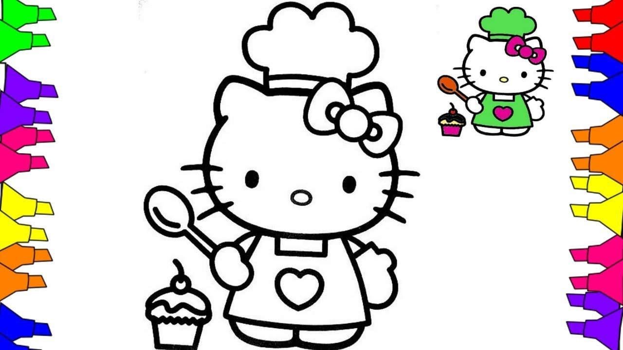 Hello Kitty Coloring Pages How To Draw Hello Kitty Cooking Funny Drawing Videos For Kids Hello Kitty Colouring Pages Hello Kitty Coloring Kitty Coloring